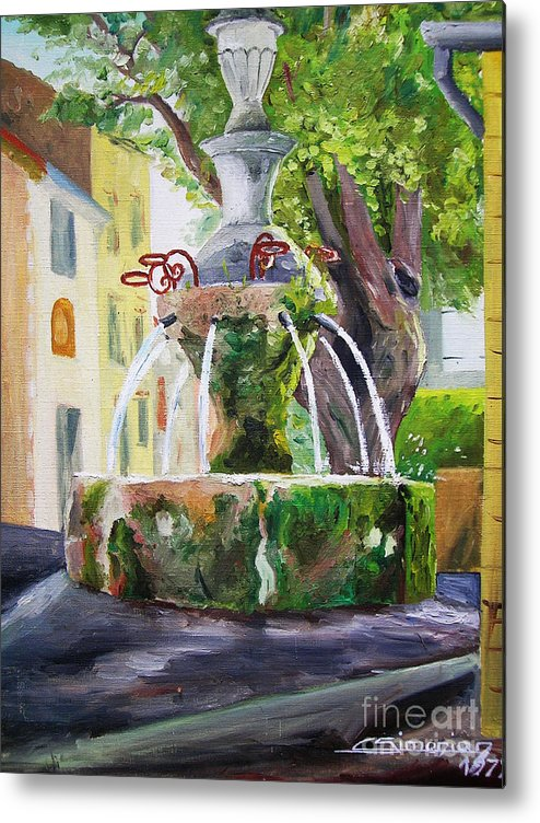 Fountain Metal Print featuring the painting Fountain In Provence by Christian Simonian