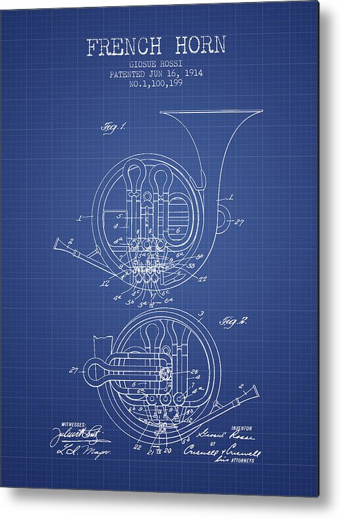 French horn patent from 1914 blueprint metal print by aged pixel french horn metal print featuring the digital art french horn patent from 1914 blueprint by malvernweather Image collections