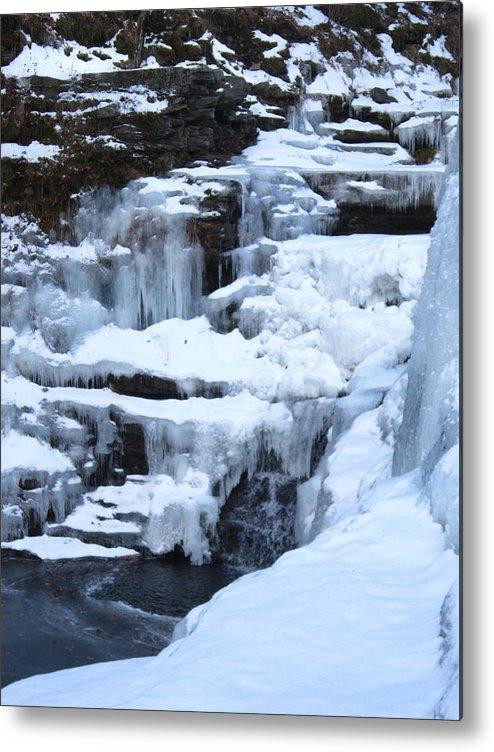 Frozen Metal Print featuring the photograph Frozen Waterfall by Marita McVeigh