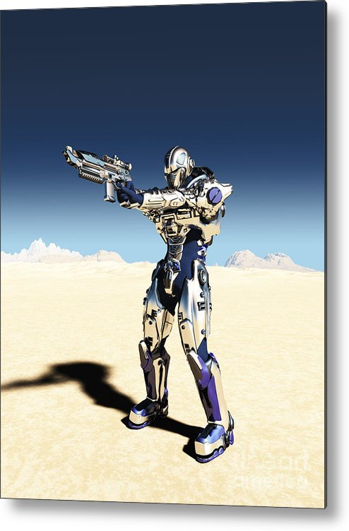 Space Metal Print featuring the digital art Future Soldier - Taking Aim by Fairy Fantasies