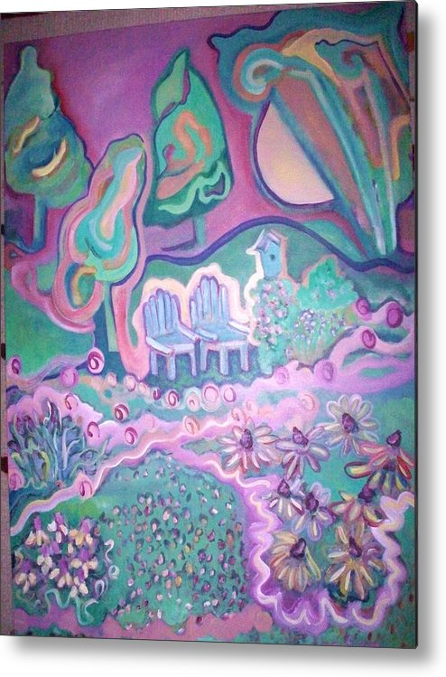 Landscape Metal Print featuring the painting Garden Song by Sandra fw Beaty