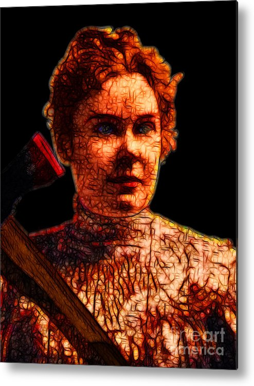 Lizzie Bordon Metal Print featuring the photograph Gave Her Father Forty Whacks - Black by Wingsdomain Art and Photography