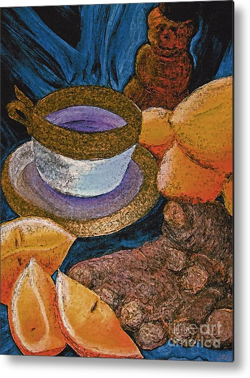 First Star Art Metal Print featuring the painting Ginger Lemon Tea 2 By Jrr by First Star Art