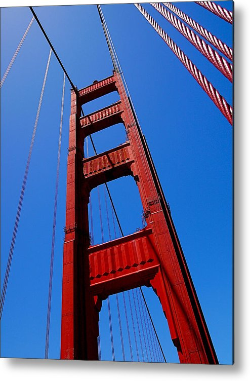 Golden Gate Bridge Metal Print featuring the photograph Golden Gate Tower by Rona Black