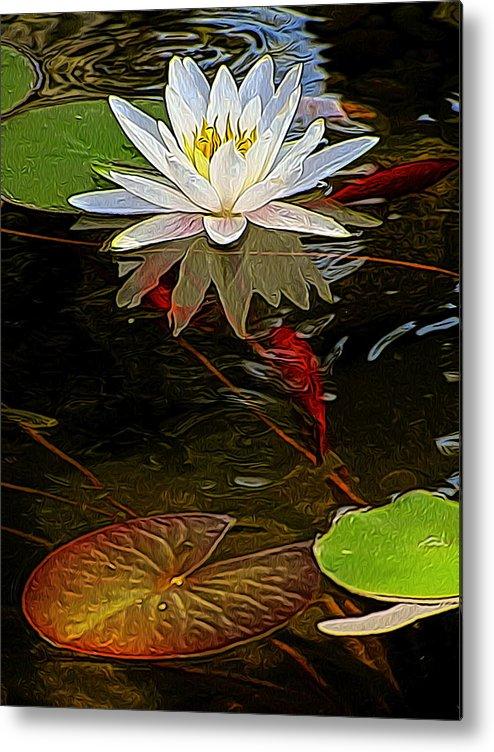 Water Gardens Metal Print featuring the digital art Golden Pad by Jen Brooks Art