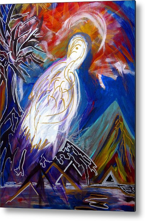Bird Metal Print featuring the painting Guardian Of The Triangle Door by Darryl Kravitz