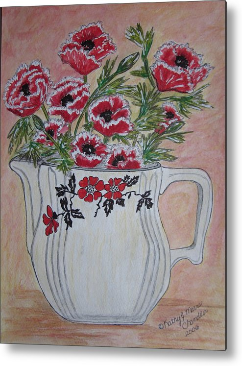 Hall China Metal Print featuring the painting Hall China Red Poppy And Poppies by Kathy Marrs Chandler