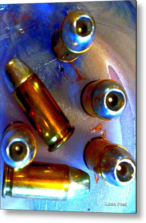 Bullet Metal Print featuring the photograph Bullet Art - Hdr Photography Of .32 Caliber Hollow Point Bullets Art 4 by Lesa Fine