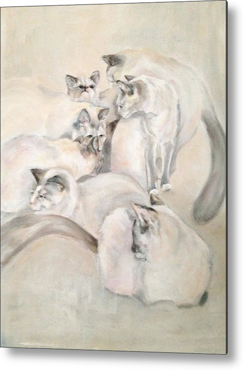 Kitten Metal Print featuring the painting Heavenly Puffs by Janet Felts