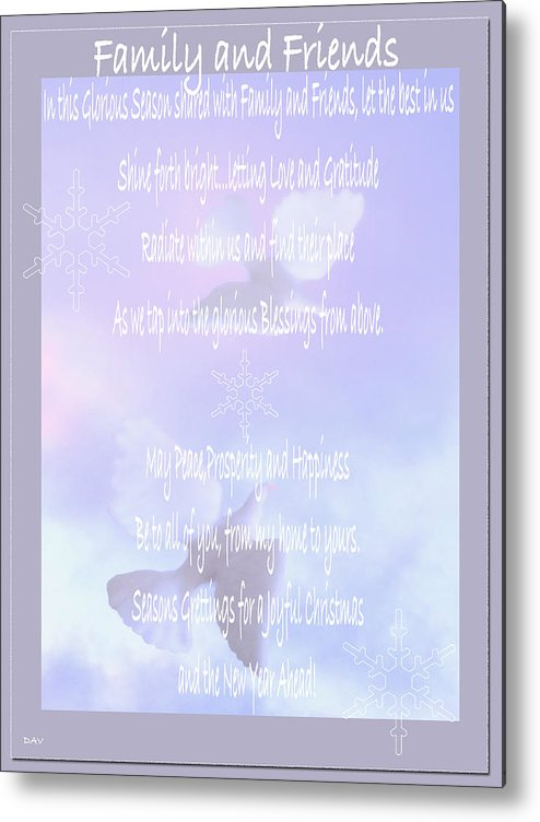 Holiday Family Friends Poem Metal Print By Debra Vatalaro