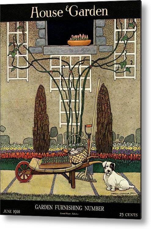 House And Garden Metal Print featuring the photograph House And Garden Garden Furnishing Number Cover by Charles Livingston Bull