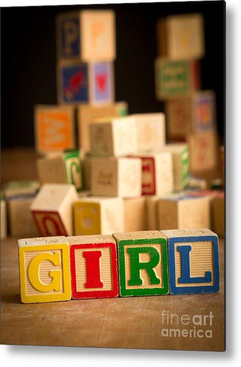 Abcs Metal Print featuring the photograph Its A Girl - Alphabet Blocks by Edward Fielding