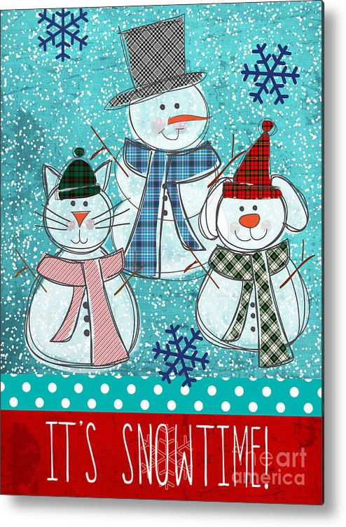 Snowman Metal Print featuring the painting It's Snowtime by Linda Woods