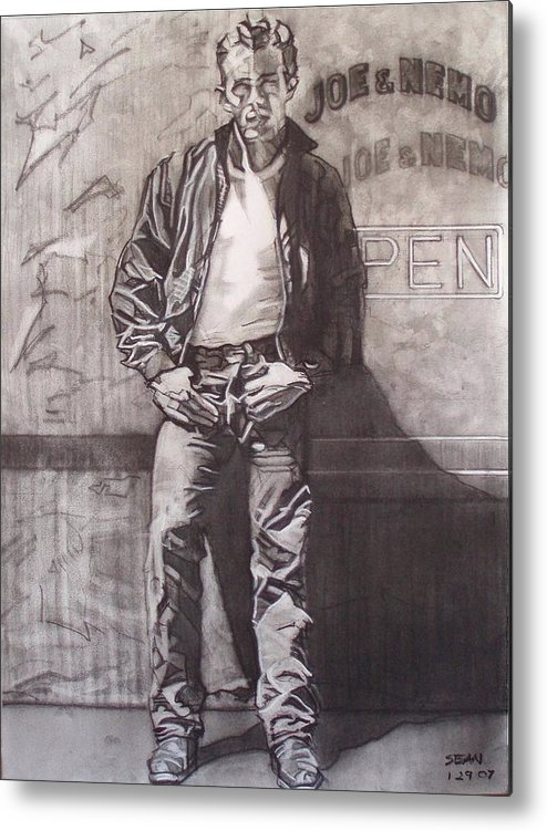 Charcoal; Icon;americana;cool;window;sidewalk;street;rock And Roll;jeans;t-shirt;diner;movie Star Metal Print featuring the drawing James Dean by Sean Connolly