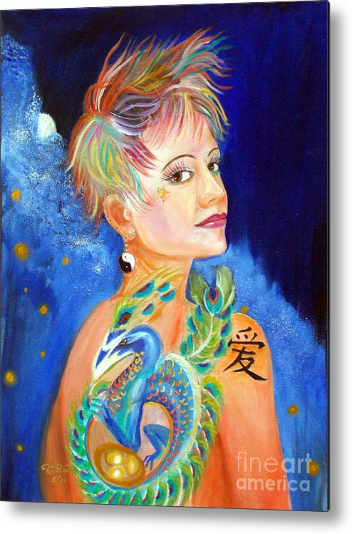 Green Peacock Metal Print featuring the painting Jesskya 3 by To-Tam Gerwe