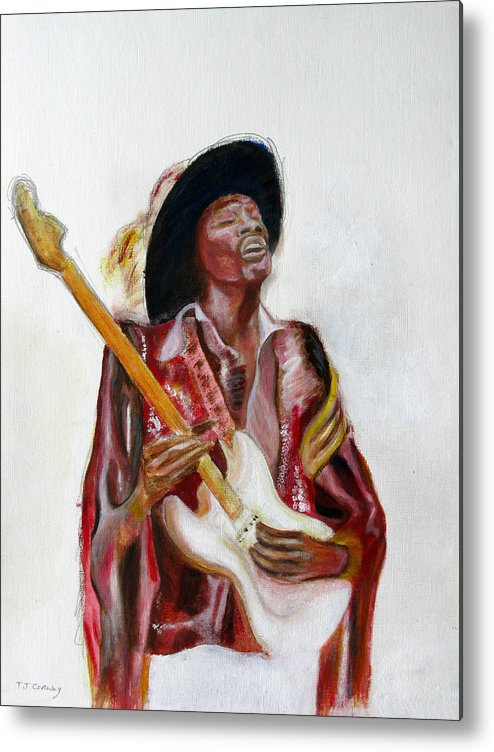 Jimi Hendrix Metal Print featuring the painting Jimi by Tom Conway