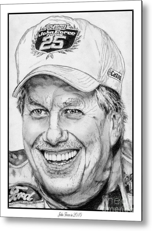 Mccombie Metal Print featuring the drawing John Force In 2010 by J McCombie