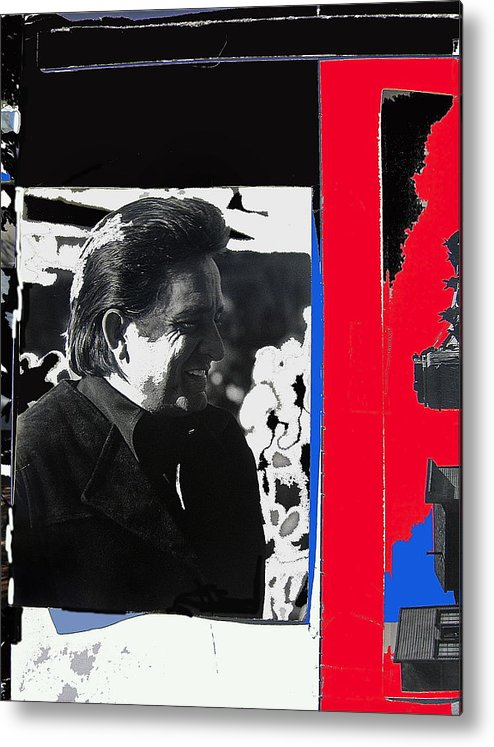 Johnny Cash Smiling Collage Surrealism Old Tucson Arizona Metal Print featuring the photograph Johnny Cash Smiling Collage 1971-2008 by David Lee Guss