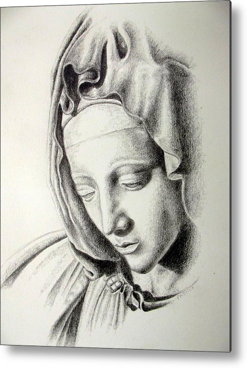 Religious Metal Print featuring the drawing La Pieta Madonna by Heather Calderon