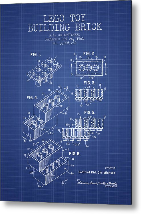 Lego toy building brick patent from 1961 blueprint metal print by lego metal print featuring the digital art lego toy building brick patent from 1961 blueprint malvernweather Images
