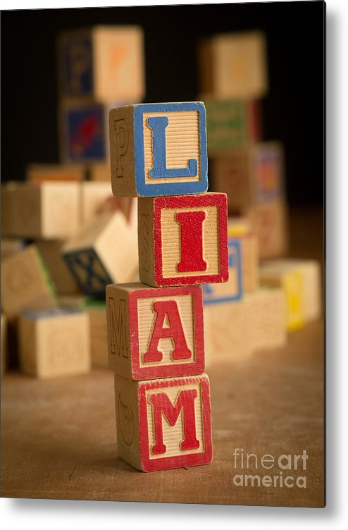 Alphabet Metal Print featuring the photograph Liam - Alphabet Blocks by Edward Fielding