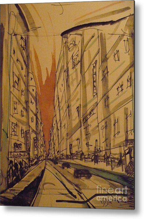 Metal Print featuring the painting Looking Across 47th by Daniel Dawson