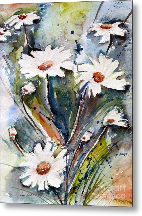 Marguerite Flowers Metal Print featuring the painting Marguerites by Ismeta Gruenwald