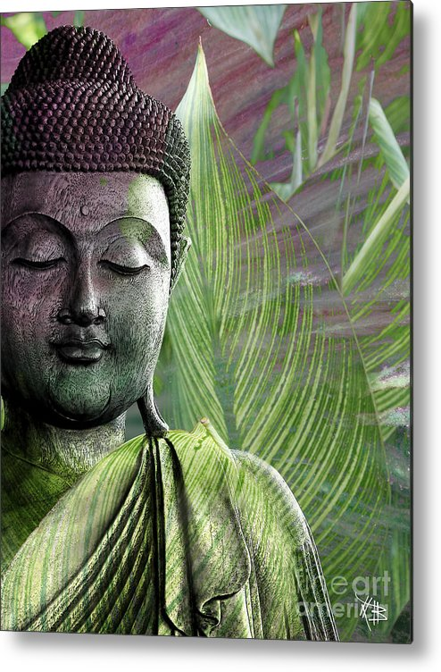 Buddha Metal Print featuring the mixed media Meditation Vegetation by Christopher Beikmann