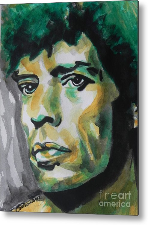 Watercolor Painting Metal Print featuring the painting Mick Jagger by Chrisann Ellis