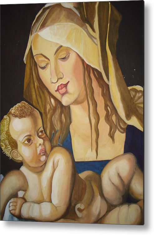 Mother Metal Print featuring the painting Mother With Her Child by Prasenjit Dhar