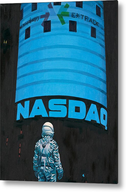 Astronaut Metal Print featuring the painting Nasdaq by Scott Listfield