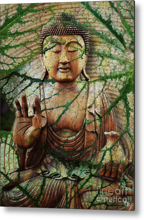 Buddha Metal Print featuring the mixed media Natural Nirvana by Christopher Beikmann