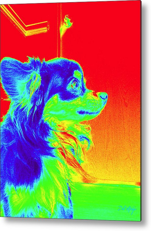 Neon Metal Print featuring the photograph Neon Papillion by Del Gaizo