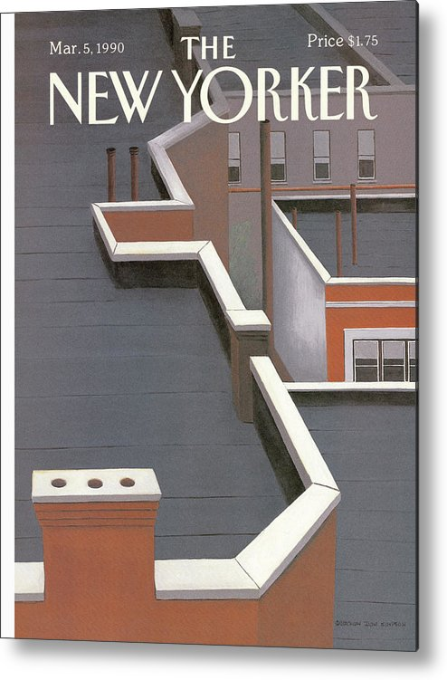 (a View Of Apartment Building Rooftops With Chimney Pipes And Smokestacks.) Household Metal Print featuring the painting New Yorker March 5th, 1990 by Gretchen Dow Simpson