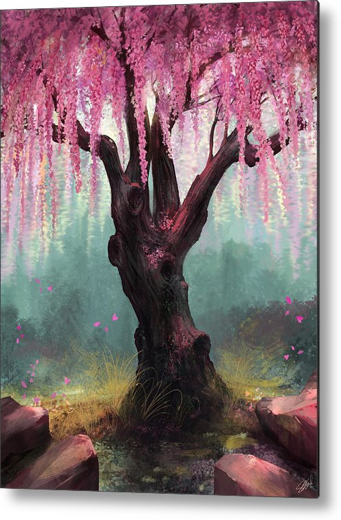 Cherry Blossom Tree Metal Print featuring the digital art Ode To Spring by Steve Goad