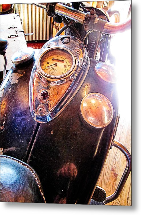 Indian Motorcycle Metal Print featuring the photograph Vintage Indian 2 by Jim Pruett