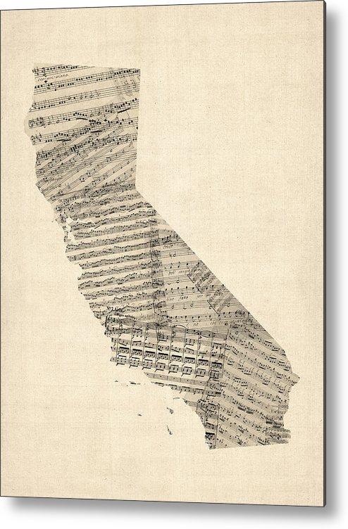 California Map Metal Print featuring the digital art Old Sheet Music Map Of California by Michael Tompsett
