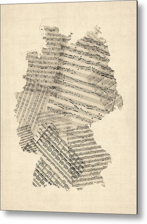 Germany Map Metal Print featuring the digital art Old Sheet Music Map Of Germany Map by Michael Tompsett