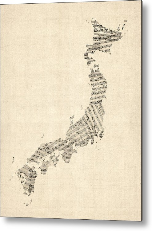 Japan Map Metal Print featuring the digital art Old Sheet Music Map Of Japan by Michael Tompsett