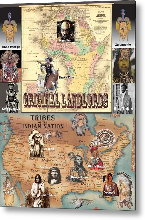 Poster Metal Print featuring the photograph Original Landlords Poster African And Native American by Sirron Kyles