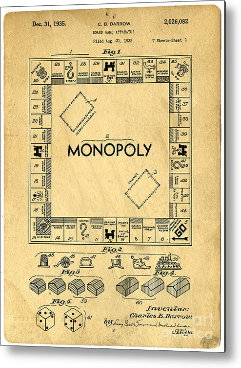 Monopoly Metal Print featuring the drawing Original Patent For Monopoly Board Game by Edward Fielding