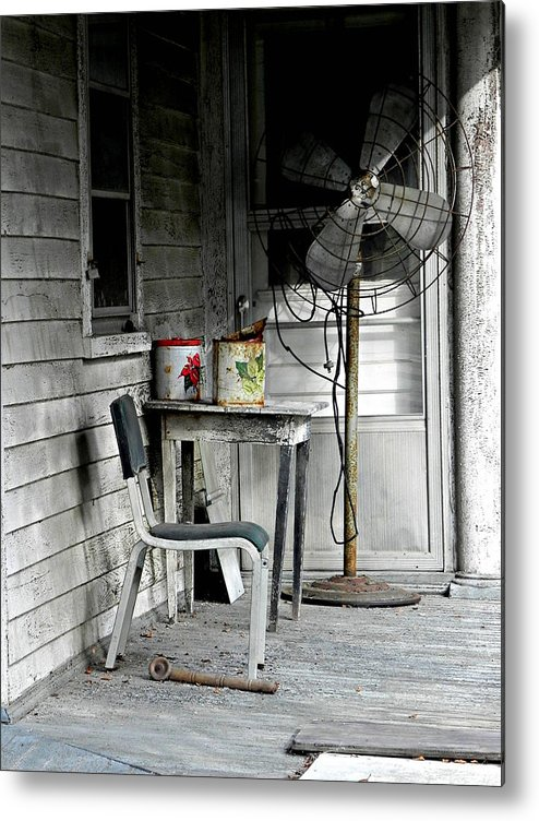 Outside Metal Print featuring the photograph Outside Air-conditioning by Mickey Murphy