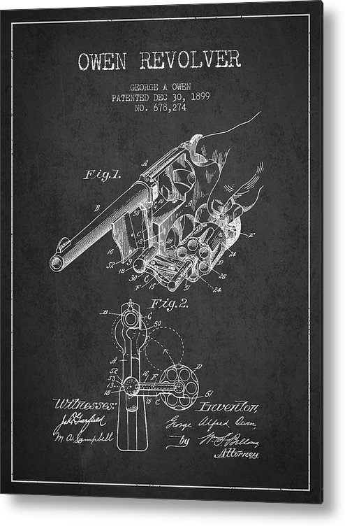Revolver Patent Metal Print featuring the digital art Owen Revolver Patent Drawing From 1899- Dark by Aged Pixel