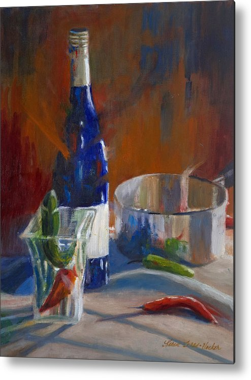 Still Life Metal Print featuring the painting Party Peppers by Karen Fess