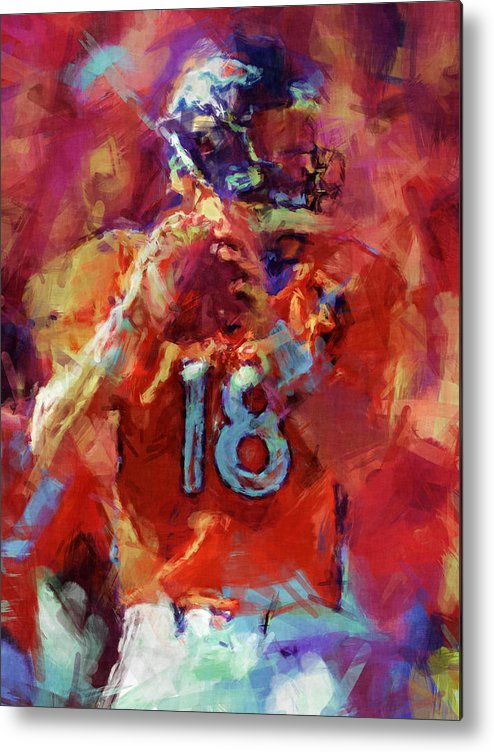 Denver Metal Print featuring the digital art Peyton Manning Abstract 3 by David G Paul