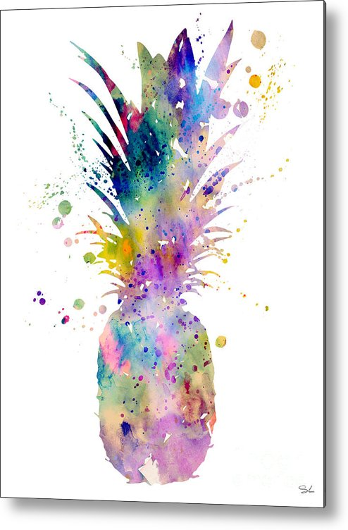 Pineapple Watercolor Print Metal Print featuring the painting Pineapple by Watercolor Girl