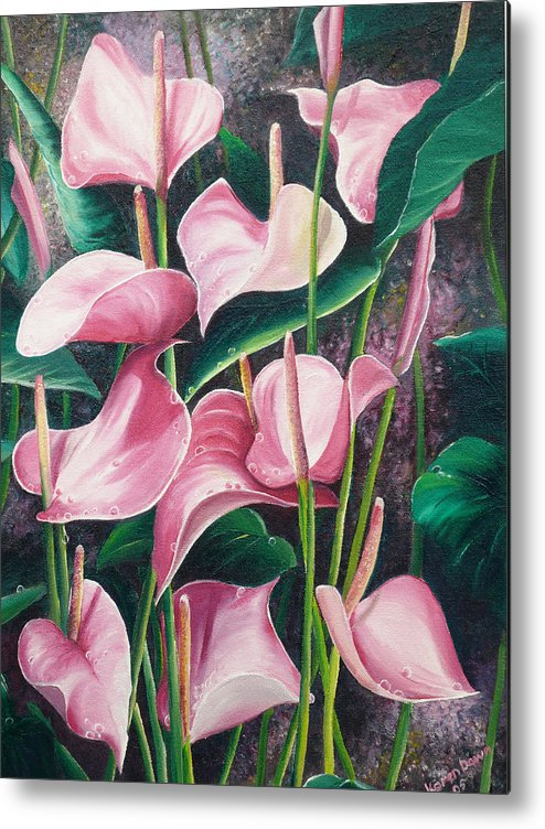 Floral Flowers Lilies Pink Metal Print featuring the painting Pink Anthuriums by Karin Dawn Kelshall- Best