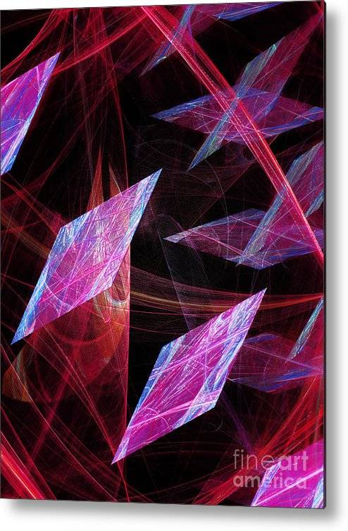 Abstract Metal Print featuring the digital art Pink Floating Diamonds by Andee Design