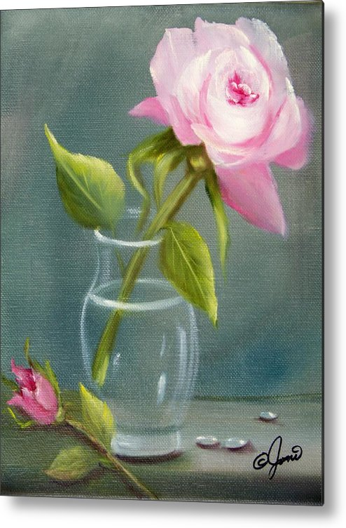 Rose Metal Print featuring the painting Pink Rose In Glass by Joni McPherson