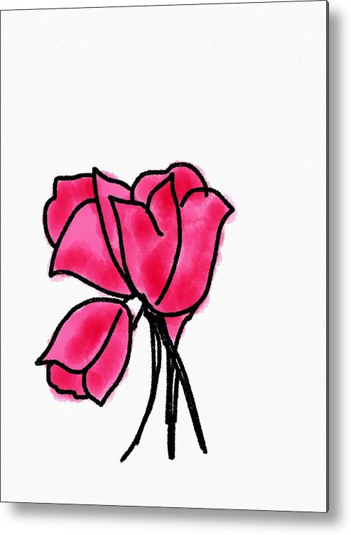 Pink Metal Print featuring the mixed media Pink Roses by Gurkirat Gill